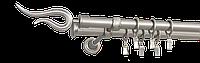 Карниз двойной 200см D19/19мм сатина никель VIOLO