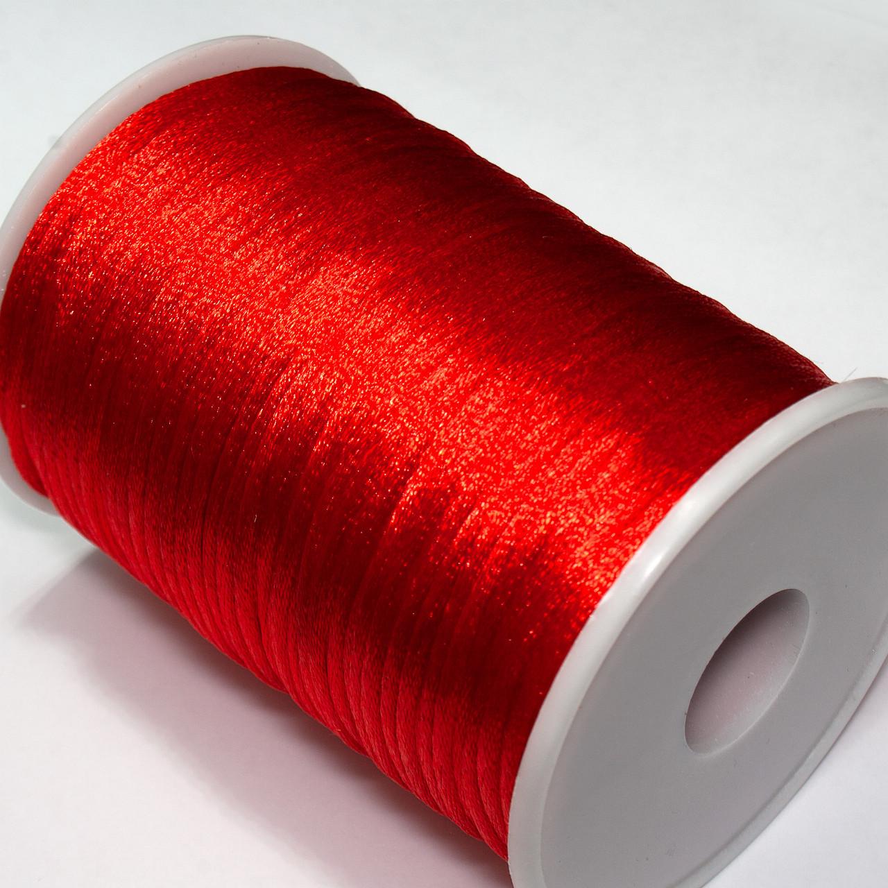 Шнур корсетный (сатиновый, шелковый) 2мм цена за 100 ярдов. Цвет - КРАСНЫЙ