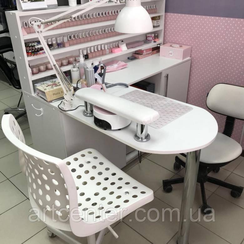 Стол для маникюра с витриной для лаков, маникюрный стол с выдвижными ящиками, складной, белый