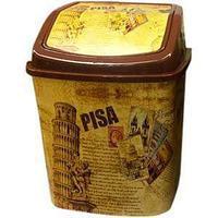 Ведро для мусора 5л кач. крышка с рисунком Пизанская башня