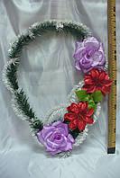Венок  улыбка каркас белая с цветами Ассорти(10 шт в уп)