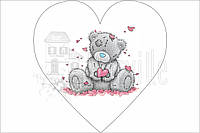 "Габардин с рисунком ""Панелька: Тедди в сердце Конфетти"" 30*30 см"