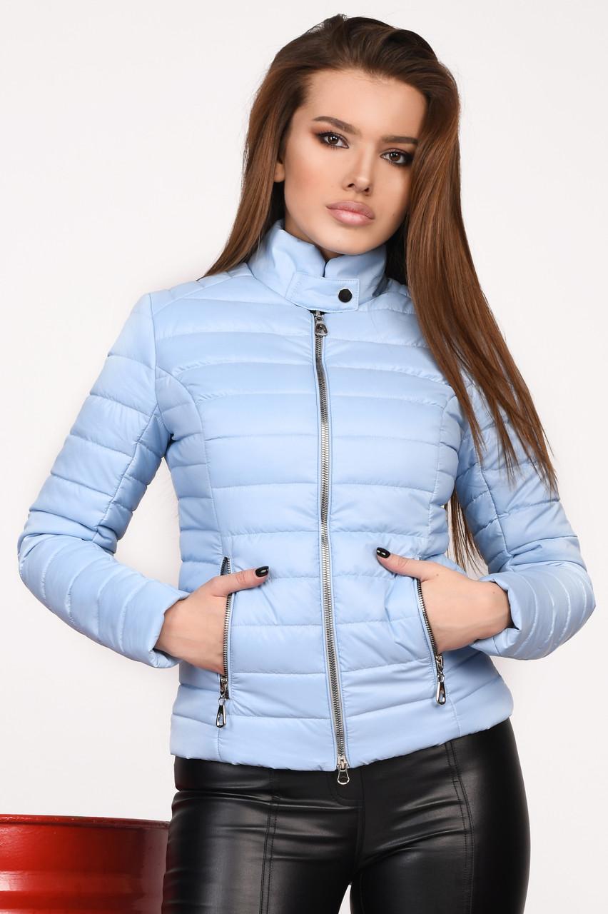 Курточка женская короткая весна-осень голубая