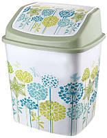 Ведро для мусора 5л кач. крышка с рисунком Цветы ELIF