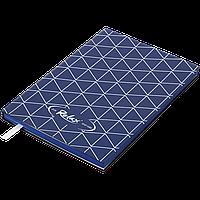 Блокнот деловой RELAX А5, 96л., чистый, обложка искусственная кожа, т.-синий