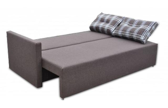 Диван Сити разложенный (серый + подушки клетка)