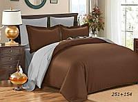 Евро комплект однотонного постельного белья из сатина / Євро комплект постільної білизни / 5A12C2 - 2199