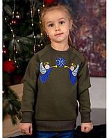 Красивый свитер с вышивкой для девочки «Ангелочки» (хаки), фото 1