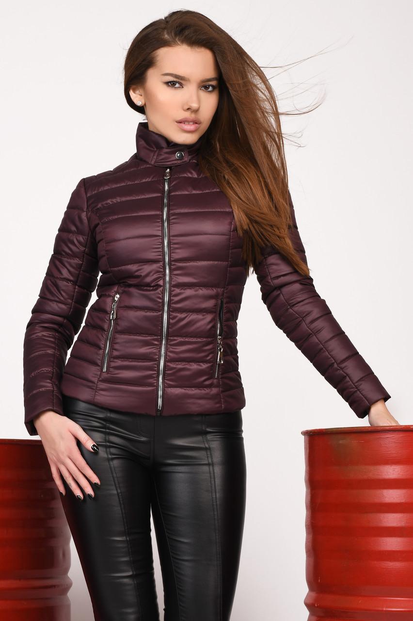 Короткая демисезонная женская куртка на синтепоне фиолетовая