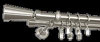 Карниз двойной 240см D19/19мм матовая сталь VASO