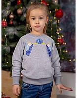 Вышитый свитшот для девочки «Ангелочки» (серый), фото 1