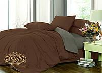 Евро комплект однотонного постельного белья из сатина / Євро комплект постільної білизни / 5A12C2 - 2319