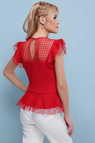 dd54fb1fa37 Легкая нарядная блузка с баской из сетки в горошек без рукава Лайза б р  красная