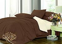 Семейный комплект однотонного постельного белья из сатина на резинке/ Сімейний комплект постільної білизни / 5A12C2 - 2364
