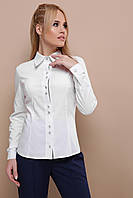 5e1a675011b Стильная женская офисная белая блузка с длинными рукавами и отделкой в  клетку Мариса д р
