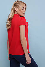 Нарядная красная свободная блузка с гипюром и рюшами на груди Федерика к/р, короткий рукав, фото 2
