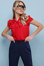 Нарядная красная свободная блузка с гипюром и рюшами на груди Федерика к/р, короткий рукав, фото 3