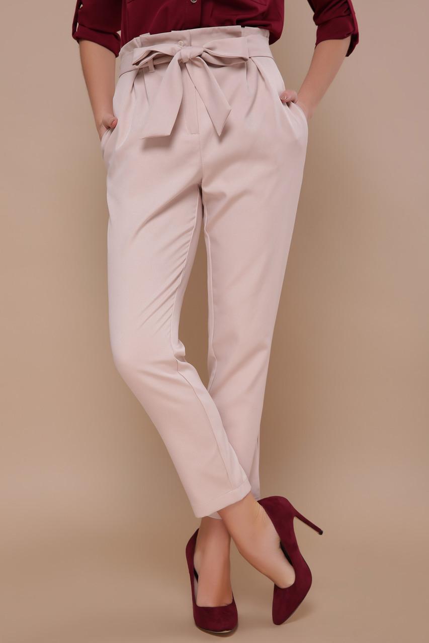 Стильные женские брюки с поясом-бантом на талии Челси однотонные светло-бежевые