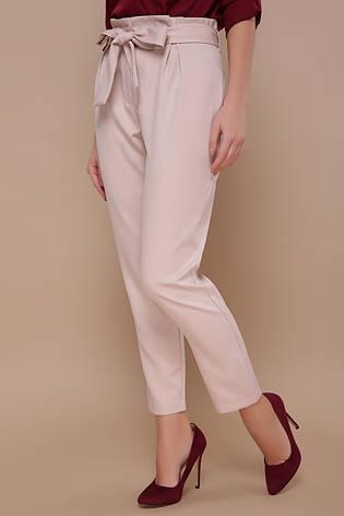 Стильные женские брюки с поясом-бантом на талии Челси однотонные светло-бежевые, фото 2