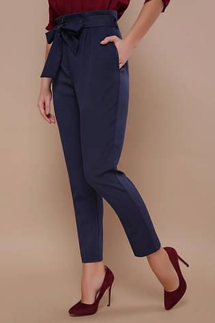 Модные женские брюки с поясом-бантом и карманами Челси синие, фото 2