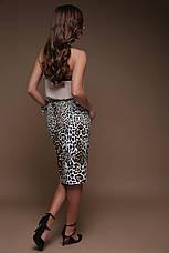 Модная облегающая юбка на талию до колен принт Леопард юбка Алина, фото 3