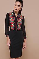 Нарядное черное платье футляр до колен с пояском в украинском стиле с принтом Маки Лилианна д/р