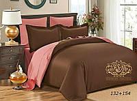 Семейный комплект однотонного постельного белья из сатина на резинке / Сімейний комплект постільної білизни / 5A12C2 - 2380