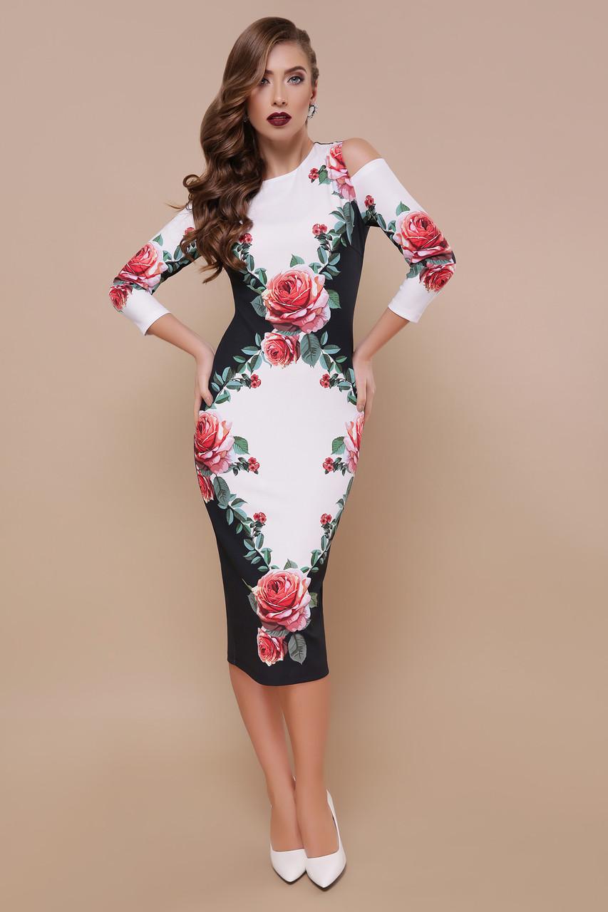 541da2910f2 Черно-белое платье миди по фигуре с разрезами на плечах и принтом Розы Лила  д