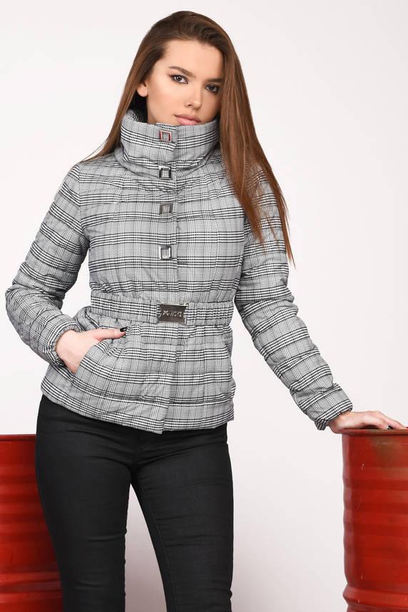 Короткая женская куртка весна-осень в клетку на синтепоне , фото 2