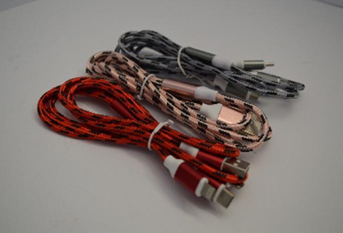 Универсальная зарядка USB/Micro-Type C-iPhone5 ткань