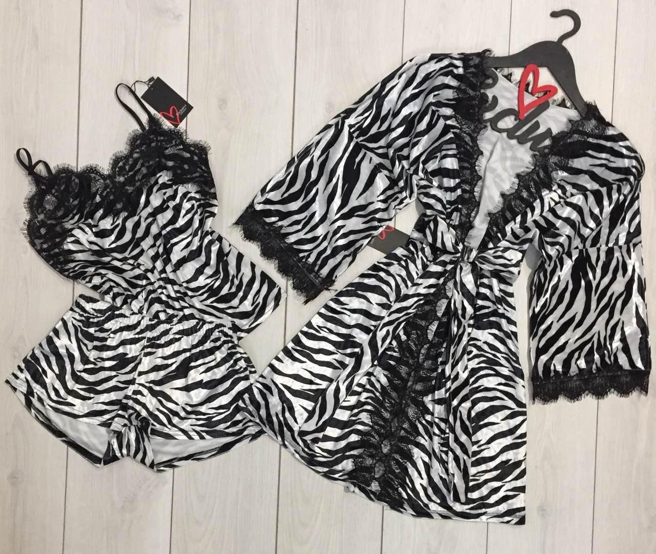 Велюровый комплект для дома халат и пижама 022-038- зебра.