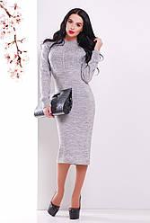 Красивое вязаное платье миди однотонное с узором колосок, темно-серое