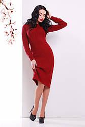 Красивое вязаное платье миди однотонное с узором колосок, бордовое