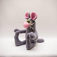 Мышь игрушка веселая серая