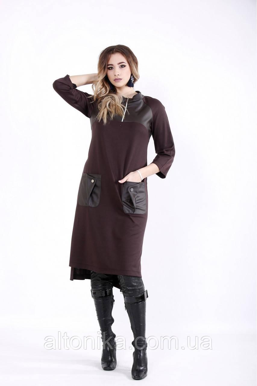 Платье с эко-кожей   42-74