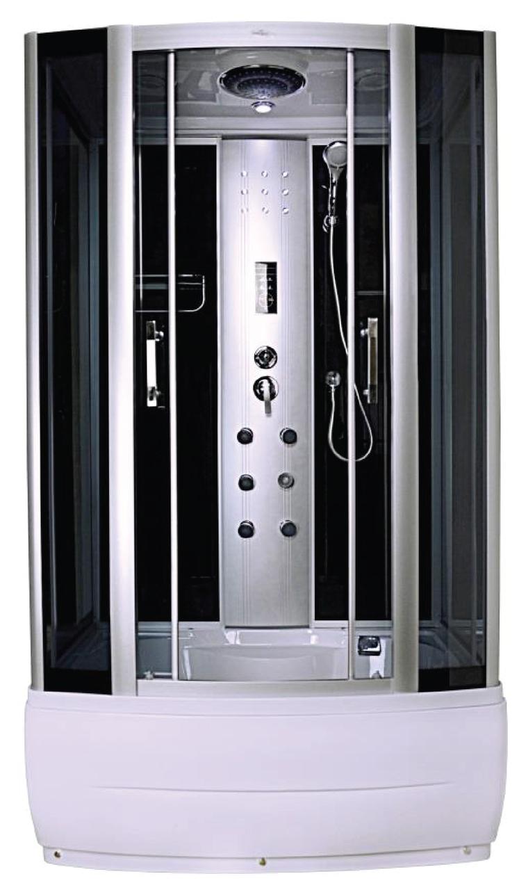 Душевая кабина гидромассажная Liveno ATENA с поддоном в комплекте, стекло графитовое, 120*85 см