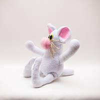 Мышка игрушка веселая белая, фото 1