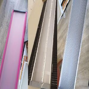 Фото с 3 разновидностями рассеивателя, используемого в подвесных потолочных линейных светодиодных ЛЕД LED светильниках