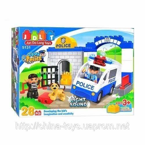 Конструктор JDLT 5131 Полицейский участок, звук, свет, 28 дет