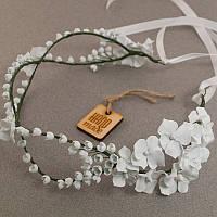 """Свадебные украшения ручной работы из фарфора: Свадебный веночек для невесты """"Ландыши""""."""