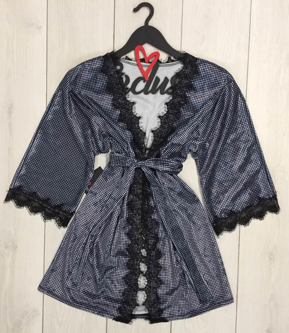 Женский велюровый халат средней длины под пояс, размер 44-46
