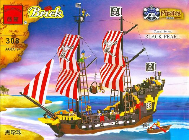 Конструктор BRICK 308 Черная жемчужина, пиратская серия, 870дет