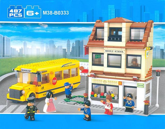 Конструктор Sluban M38-B0333 Школьный автобус и школа, 487дет.