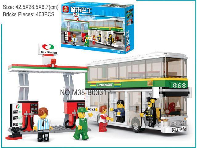 Конструктор Sluban M38-B0331 Двухэтажный автобус и бензоколонка, дет. 403