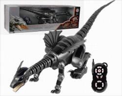 Робот рептилия Динозавр. Дракон на р/у со звук. эффектами на бат. 28109 серый