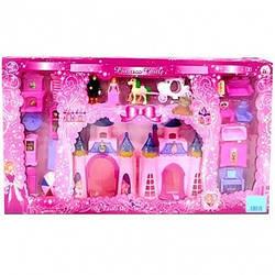 Замок CB 688-18 мебель, фигурки, карета, муз., Свет, кор., 63-36-6 см