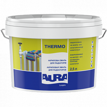 Акриловая эмаль для радиаторов AURA Luxpro Thermo, глянцевая, белая, 2,5л, фото 2