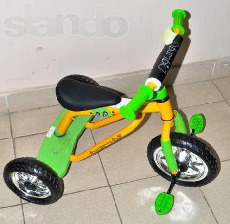 Велосипед M 0688-1 три колеса серо-розовый, желто-зеленый