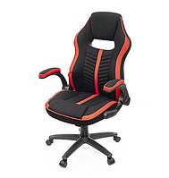 Кресло офисное на колесиках Брум PL TILT красного цвета из ткани