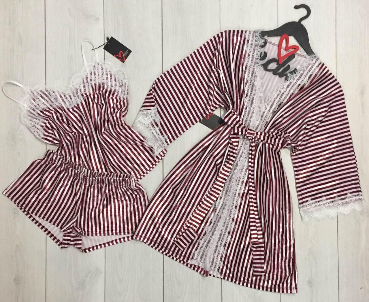 Халат+майка+шорты-велюровый комплект с кружевом в полоску.